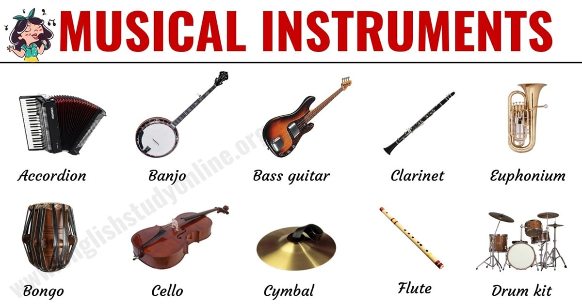 Musical Instruments: List of 30 Popular Types of Instruments in English 1