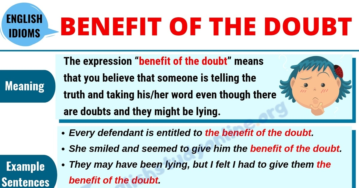 Benefit of the Doubt: Meaning, Useful Examples with Synonyms List in English 1