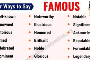 Famous Synonym: List of 25 Useful Synonyms for Famous in English 11