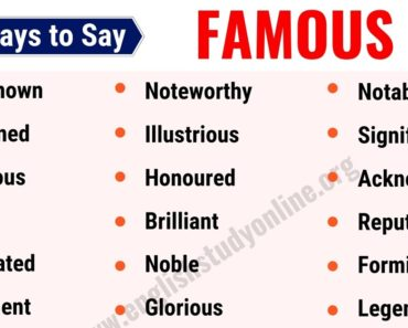 Famous Synonym: List of 25 Useful Synonyms for Famous in English 5