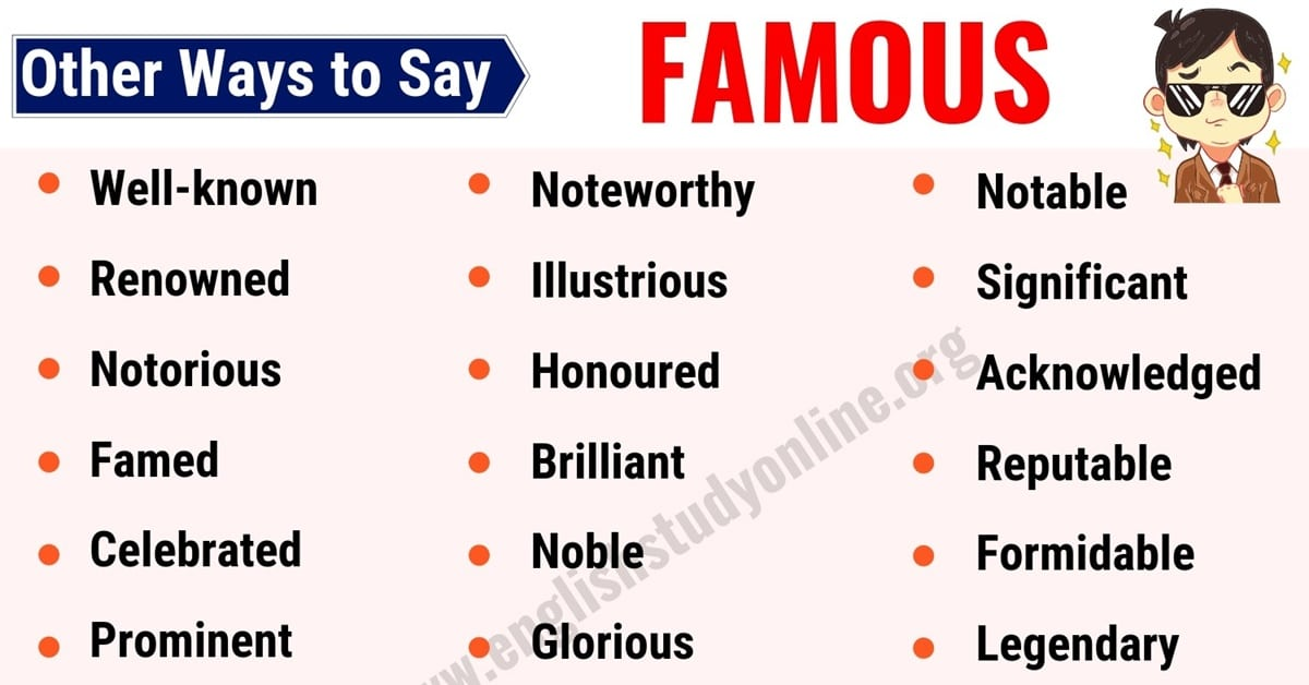 Famous Synonym: List of 25 Useful Synonyms for Famous in English 1