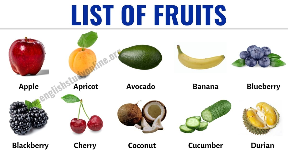 List of Fruits: List of 40+ Popular Fruit Names with Useful Examples 1