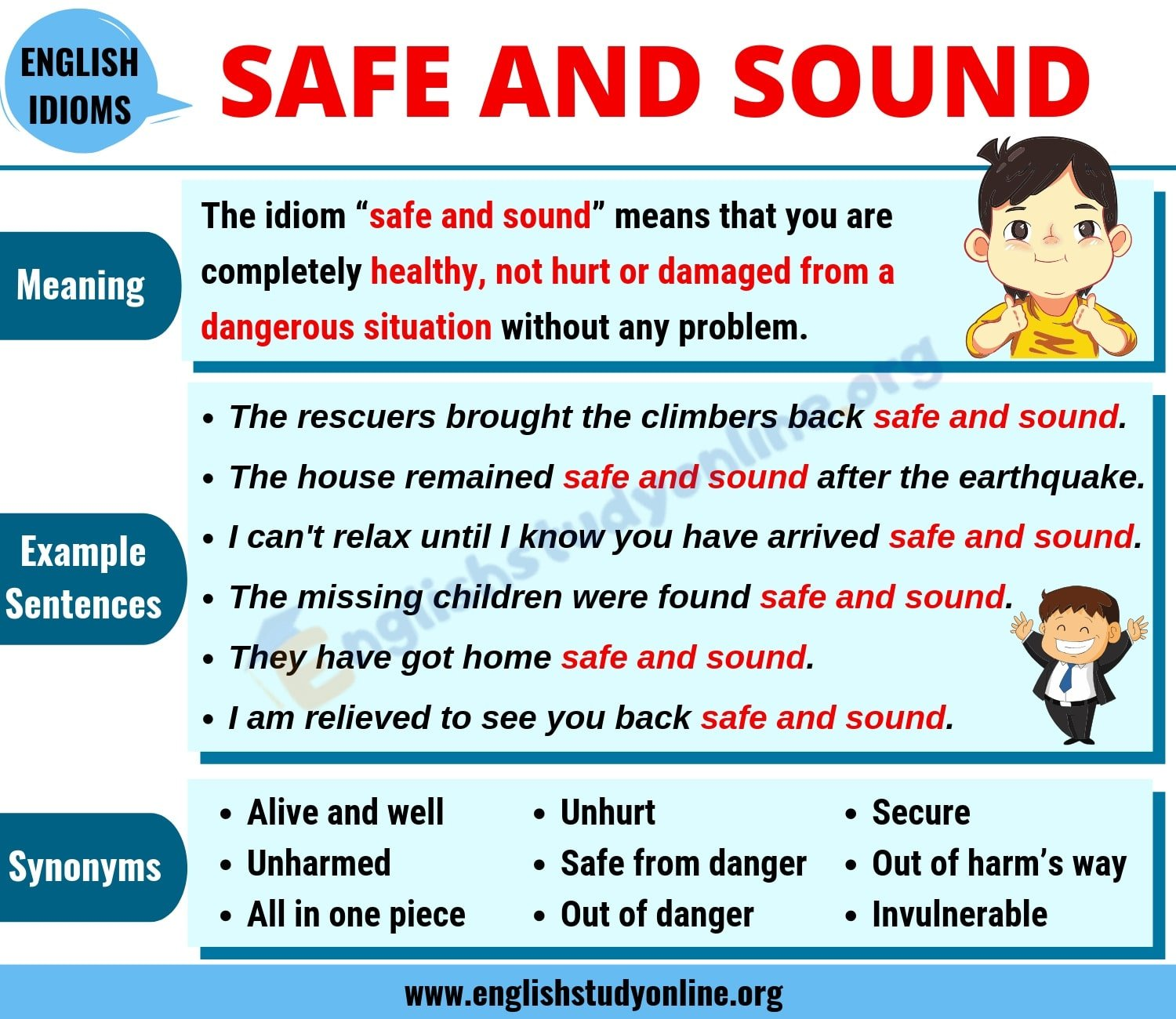 Safe and Sound: Definition, Useful Examples and Synonyms