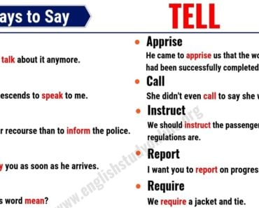 Tell Synonym: 20 Common Synonyms for TELL with Useful Examples 4
