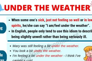 What Does Under the Weather Mean? | Useful Example Sentences 12