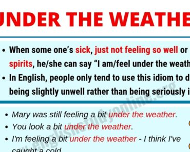 What Does Under the Weather Mean? | Useful Example Sentences 3