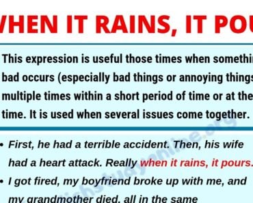 When It Rains It Pours: Learn Definition, Useful Examples & List of Synonyms 2