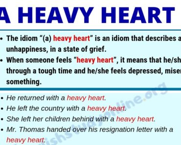 (A) Heavy Heart: Definition with Useful Examples & Synonyms List 7