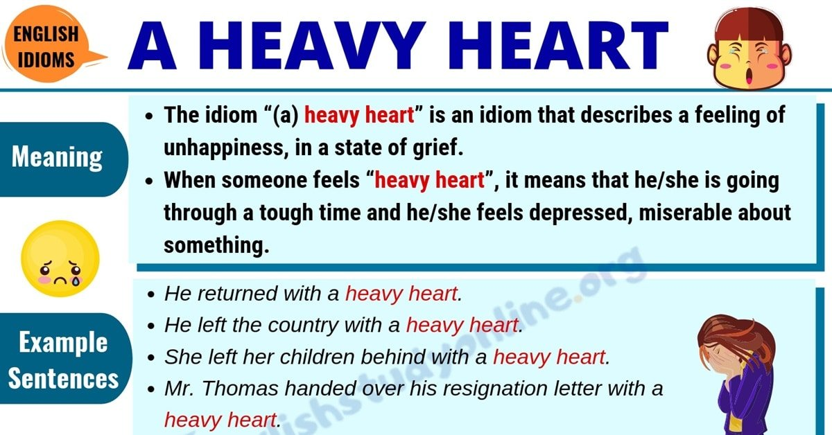 (A) Heavy Heart: Definition with Useful Examples & Synonyms List 1