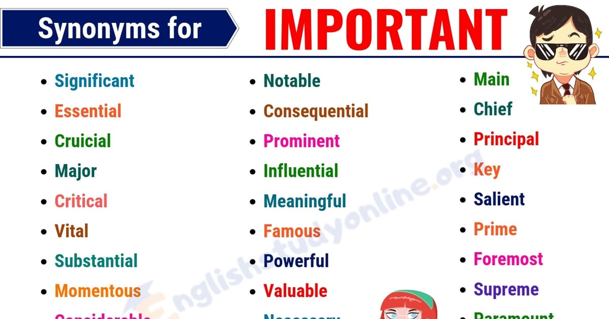 IMPORTANT Synonym: 40 Useful Words to Use Instead of IMPORTANT 1