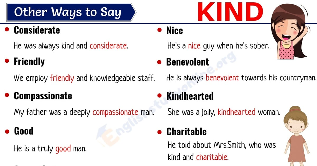 Kind Synonym: List of 25 Useful Synonyms for KIND with Examples 1