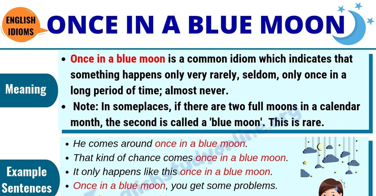 Once In A Blue Moon: Definition & Useful Examples in English 1