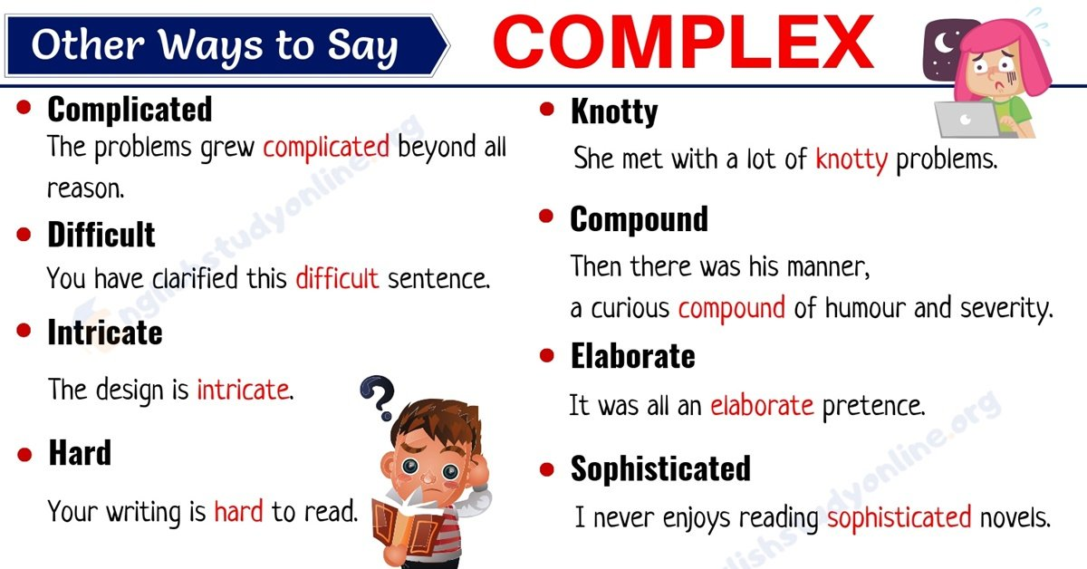 Complex Synonym: List of 20 Useful Synonyms for COMPLEX 1