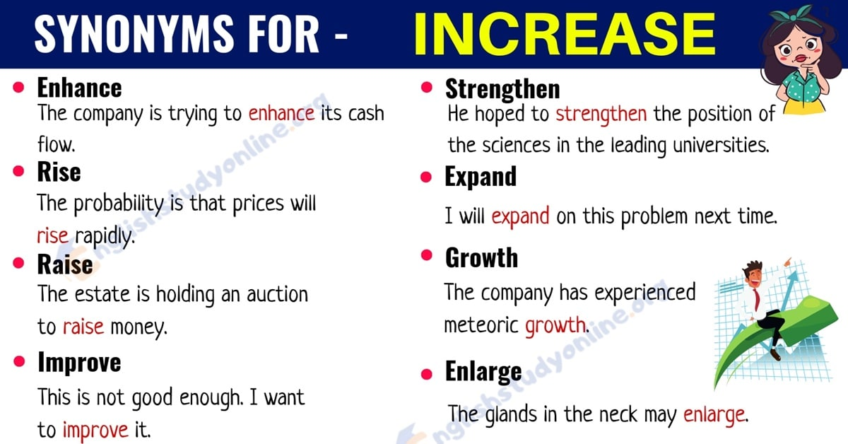 Increase Synonym: List of 20+ Useful Synonyms for the Word INCREASE 1