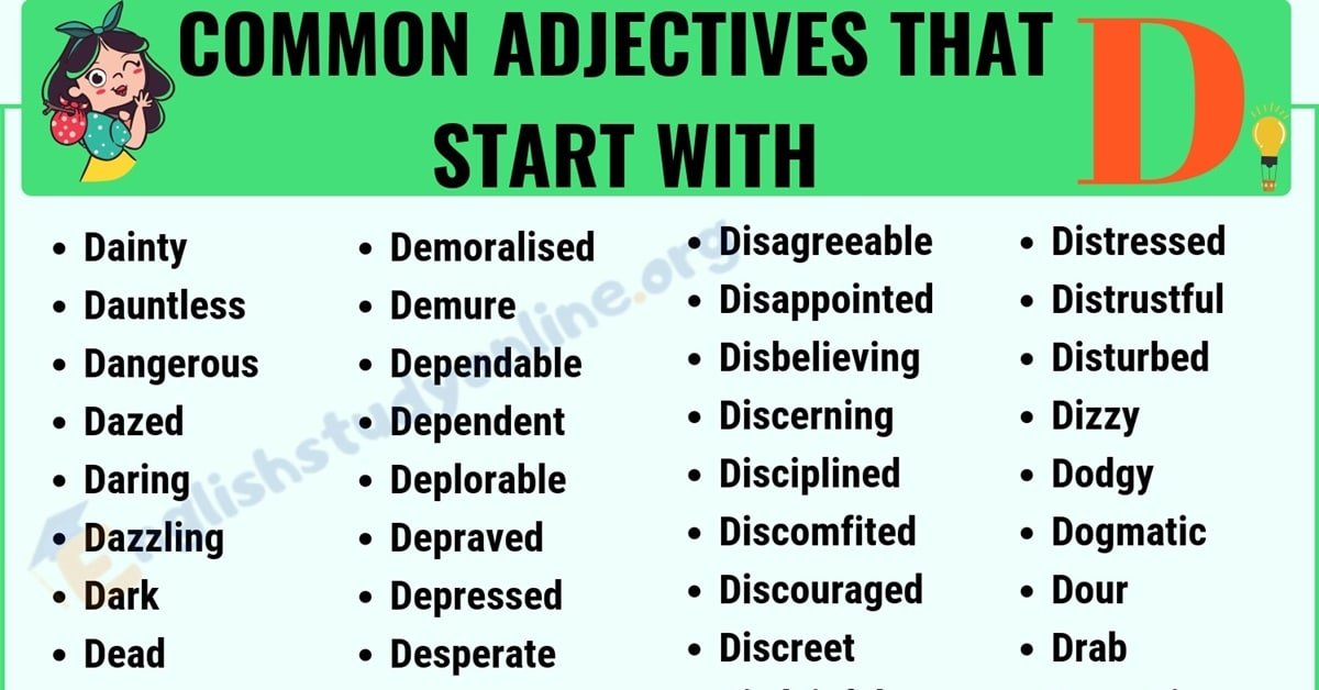 A Huge List of 100+ Adjectives That Start with D with ESL Image 6