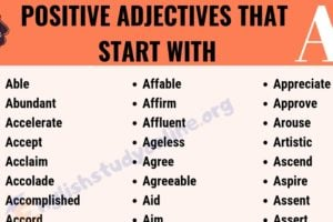 70+ Positive Adjectives That Start with A | Useful List of Common Adjectives 11