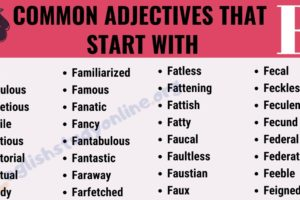 200+ Useful Adjectives That Start with F with ESL Infographic 9