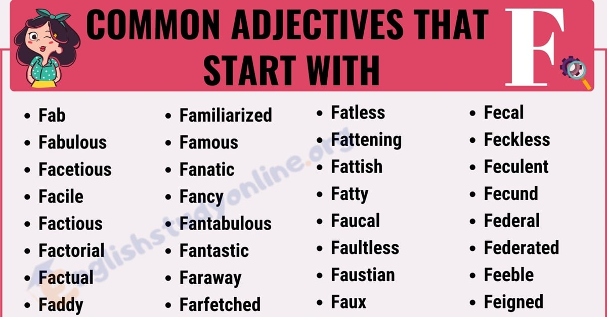 200+ Useful Adjectives That Start with F with ESL Infographic 5