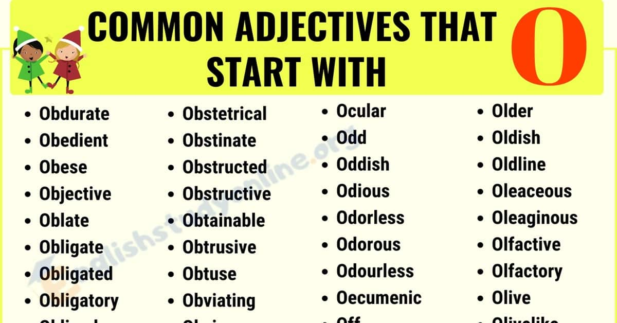 Top 320+ Popular Adjectives That Start With O with ESL Images - English  Study Online