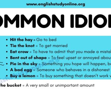 What Is An Idiom? List of 100 Popular Idioms with Examples in English 7