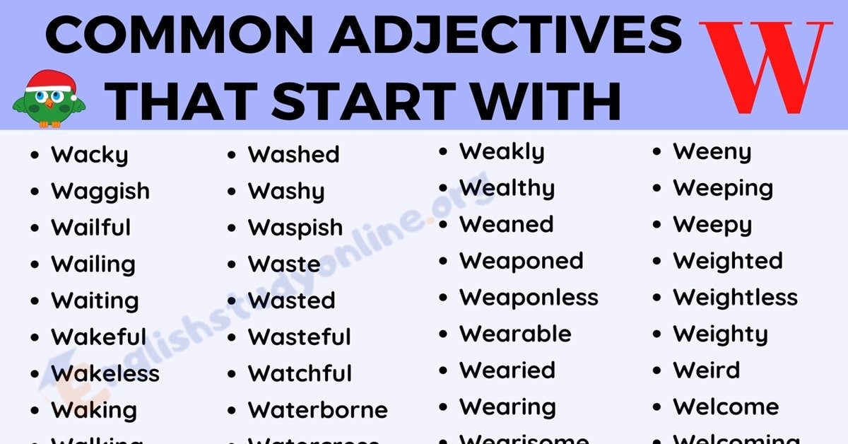 250 Popular Adjectives That Start with W for ESL Learners 1