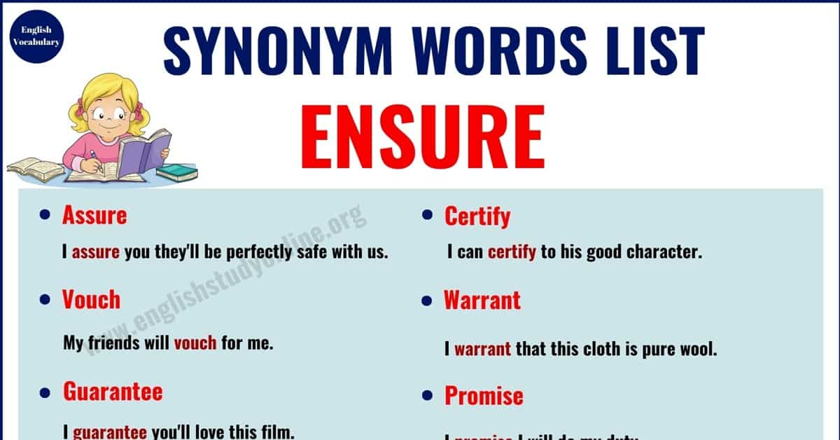 Ensure Synonym | 15 Useful Words for Ensure with Examples 1