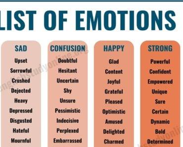 List of Emotions | 70 Useful Words of Feelings & Emotions 5