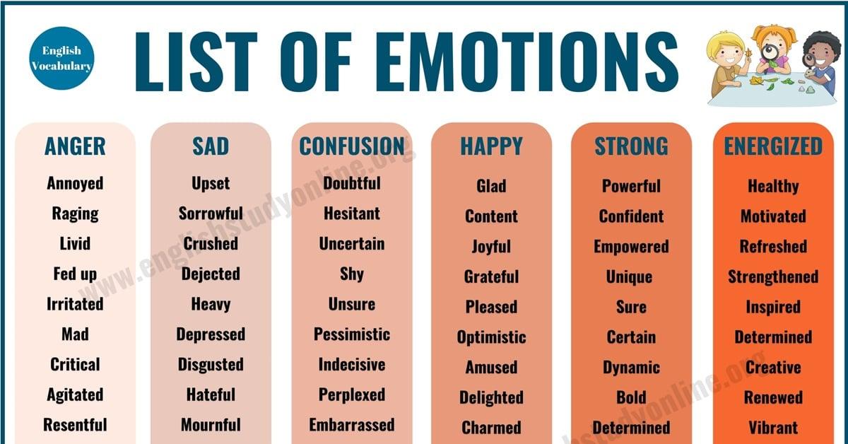 List of Emotions | 70 Useful Words of Feelings & Emotions 1