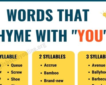 70 Useful Words That Rhyme with You in English 6