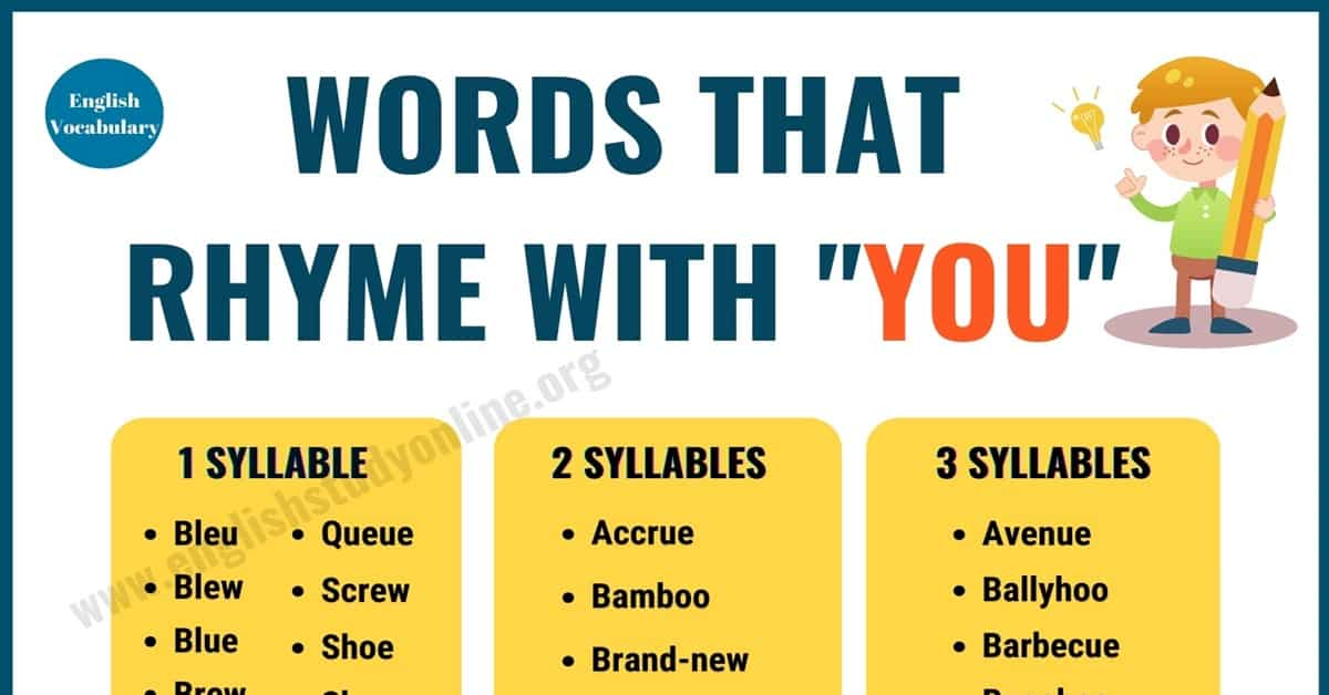 70 Useful Words That Rhyme with You in English 1