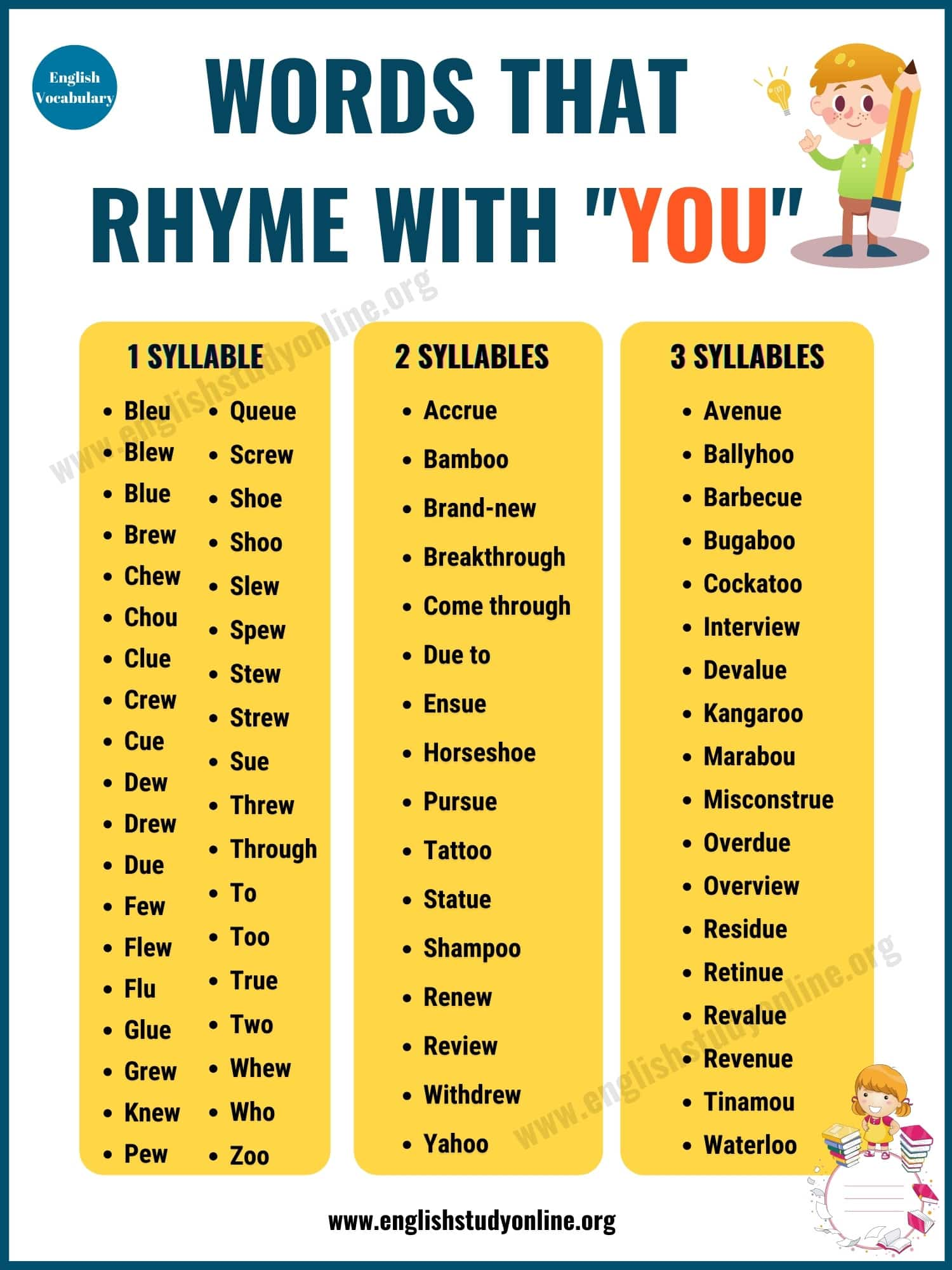 Words That Rhyme with You