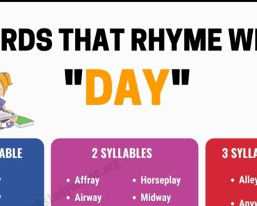 100 Interesting Words That Rhyme With Day in English 5