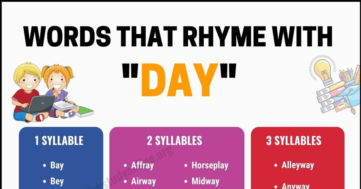 100 Interesting Words That Rhyme With Day in English 10