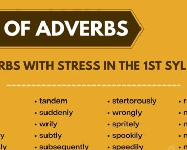 Extraordinary List of Adverbs with Stress in the 1st Syllable 2