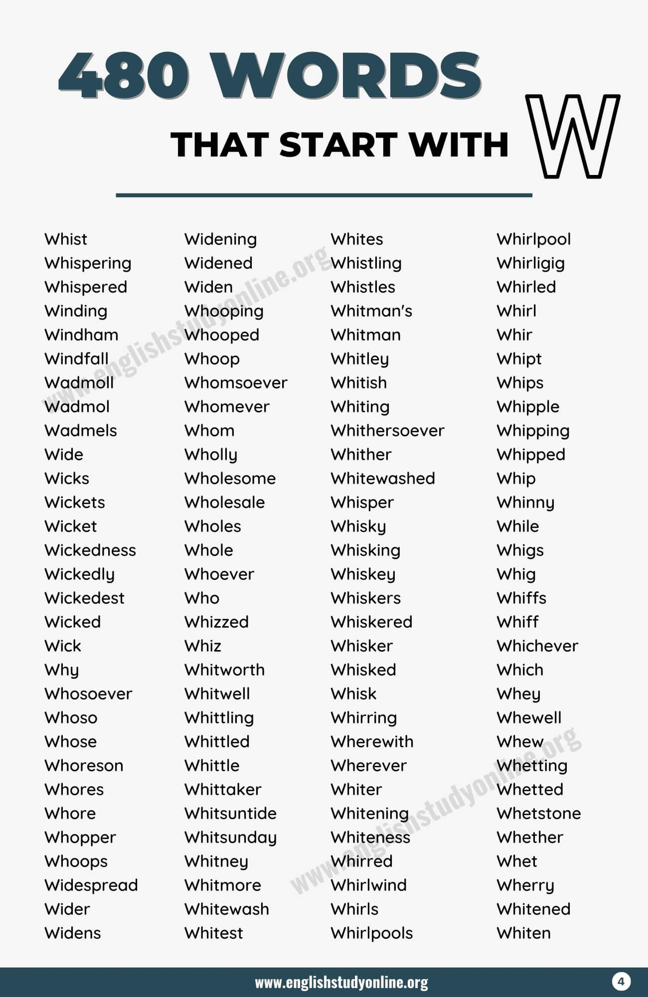 Words that Start with W