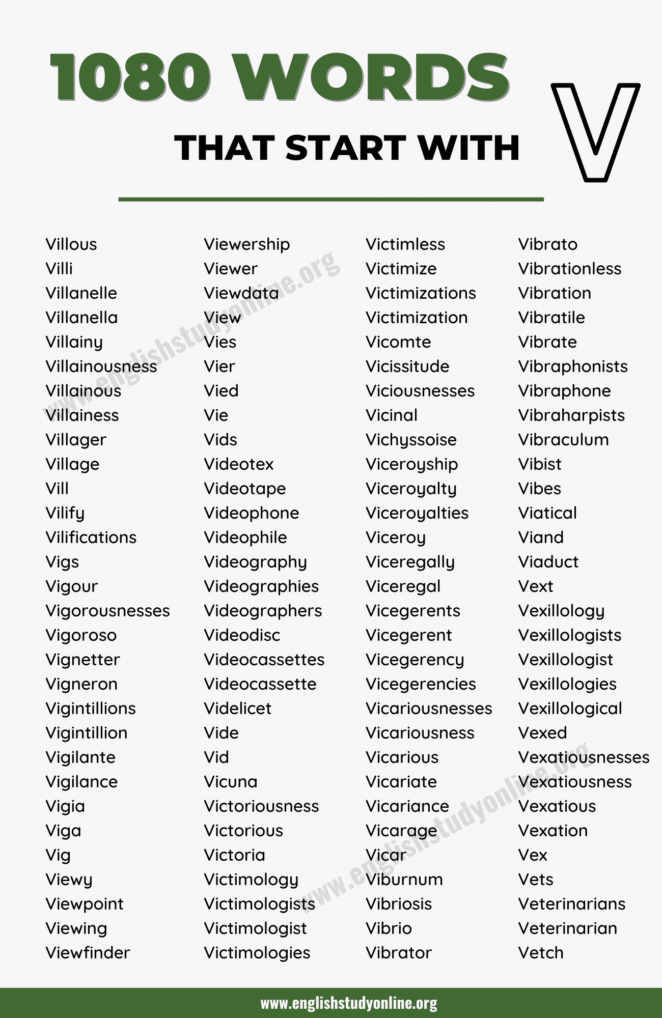 1000+ Brilliant Words that Start with V in English