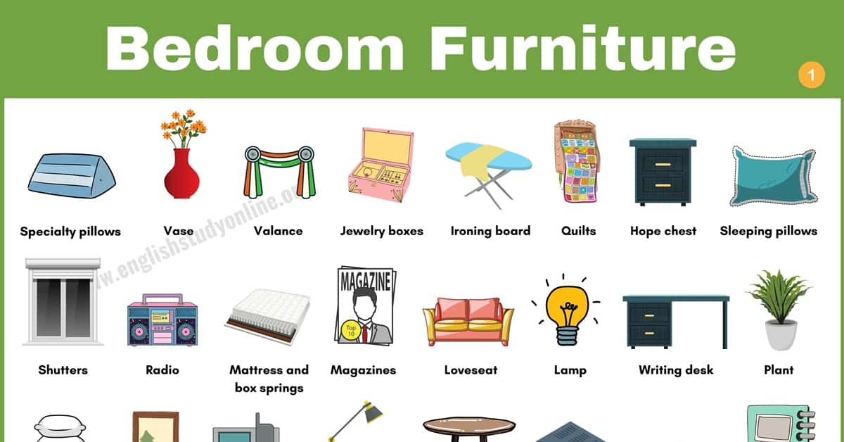 Bedroom Furniture: Wonderful List of 50+ Objects in The Bedroom 1