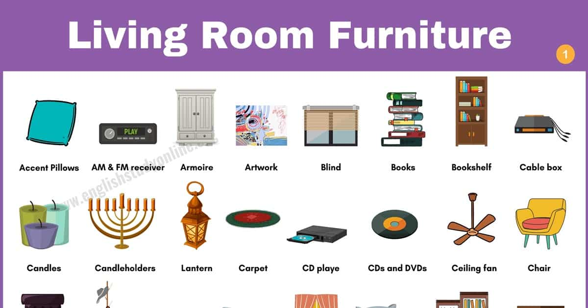 Living Room Furniture: Useful List of 60 Objects in The Living Room 1