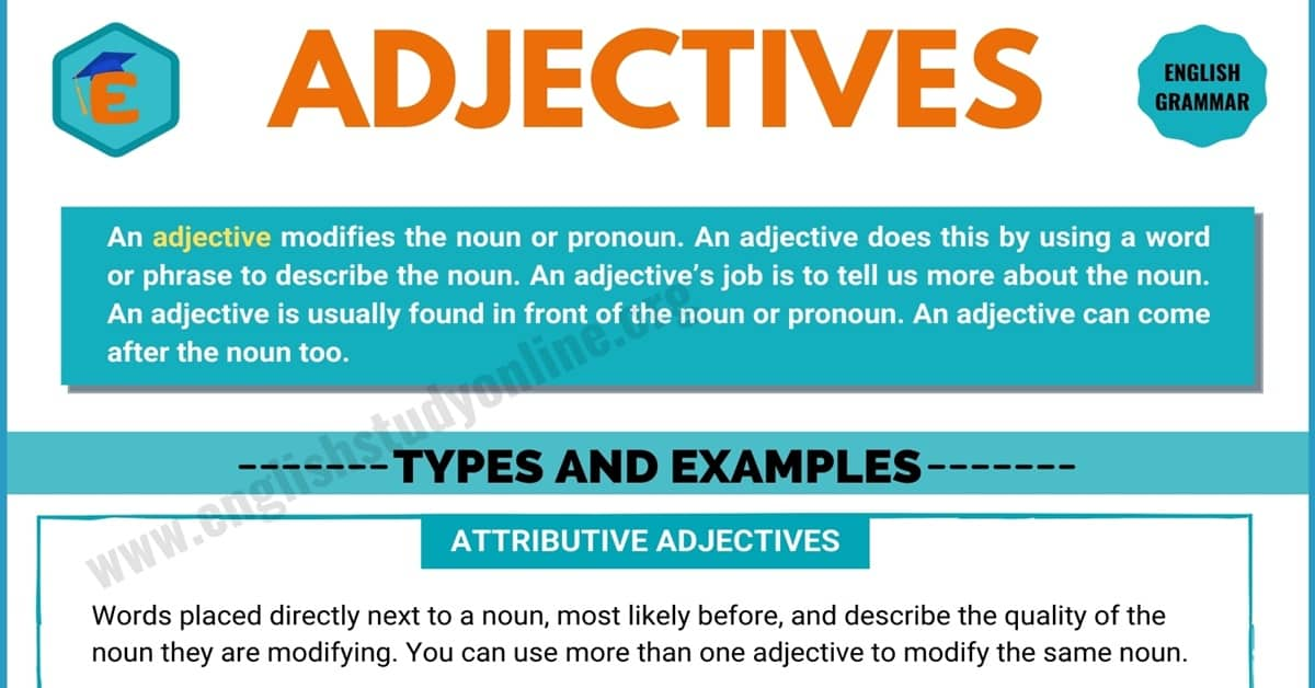 Adjectives | Definition, Rules, Different Types with Remarkable Examples 6