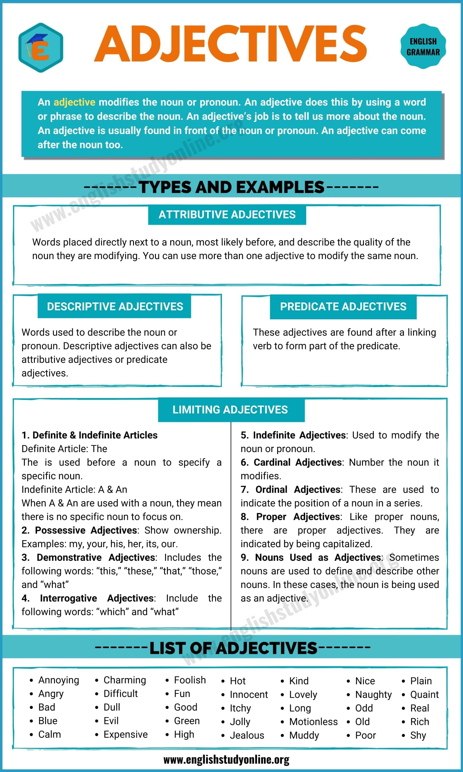 Adjectives | Definition, Rules, Different Types with Remarkable Examples